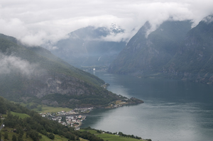 Gloomy fjord: A fjord in Norway with very low cloud.