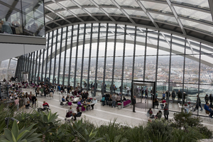 Skygarden London view: Panorama viewing area in the Skygarden in the Walkietalkie Building, London, England. Photography was freely permitted in this area.