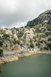 Dam: A lake dam in Majorca, Balearic Islands, Spain.