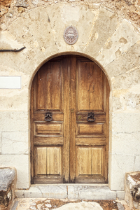 Old door: Doors in an old church in Majorca, Balearic Islands, Spain.