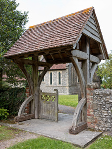 Old church gatehouse: An old gatehouse to a church in a village in Sussex, England.