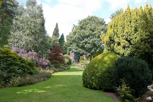 Garden lawn and borders: Lawn and borders of a garden in Kent, England.