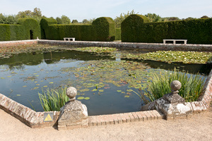 Ornamental lily pond: An ornamental lily pond at Penshurst Place, a stately home in Kent, England. Photography in these grounds was freely permitted.