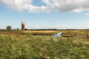 Fenland with windmill: Fenland surrounding Horsey Wind Pump, an old water-pumping windmill in Norfolk, England. Photography of this National Trust area was freely permitted.