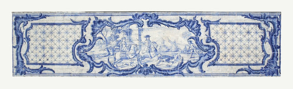 Madeiran hunting picture: An ancient glazed tile picture portraying a hunting scene in Madeira. Photography of this tile picture was freely permitted.