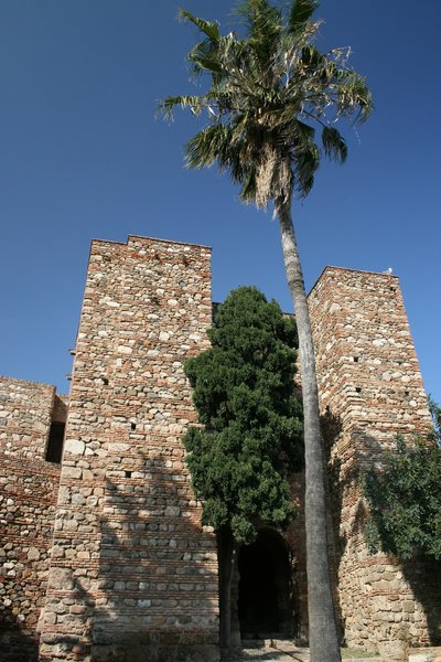 Moorish towers: Part of the Alcazaba, a Moorish fortified palace in Málaga, southern Spain.