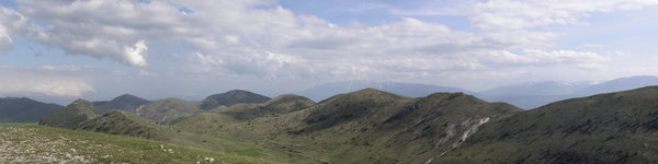 Italian landscape: Hills and mountains of the Gran Sasso range, Italy. Five shot photomerge.