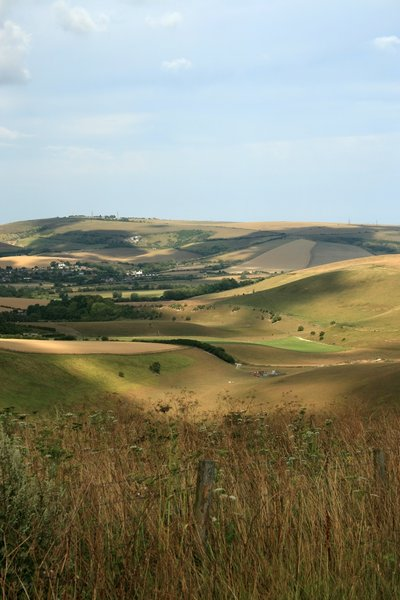 Moody Valley: A valley in the South Downs, West Sussex, England, on a summer evening.