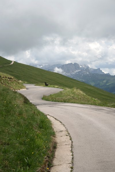 Mountain road: A minor road high in the Dolomites, Italy.
