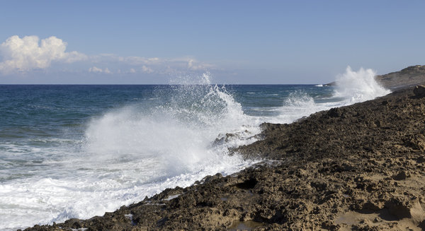 Coastal spray: Rough coastal spray in northern Cyprus.