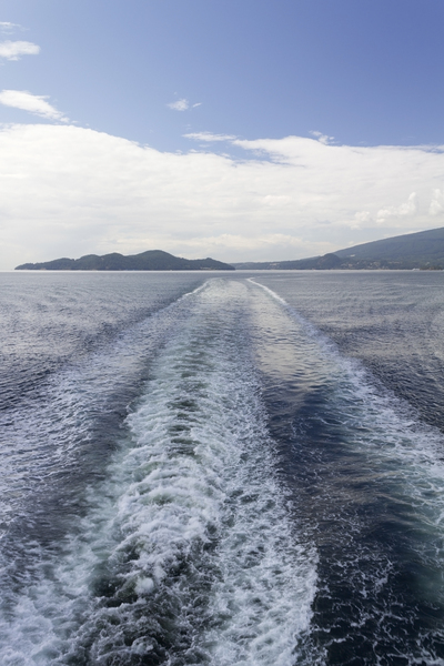 Boat wake: The wake of a boat crossing the Burrard Inlet, Canada.