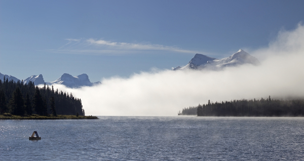 Morning mist: Early morning mist on a lake in the Rockies, Canada.