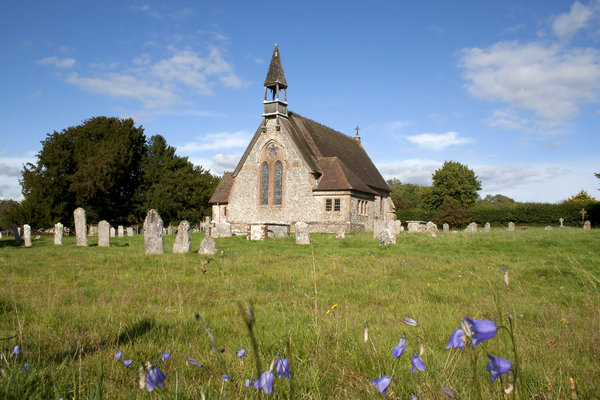 English church: A village church in Hampshire, England.