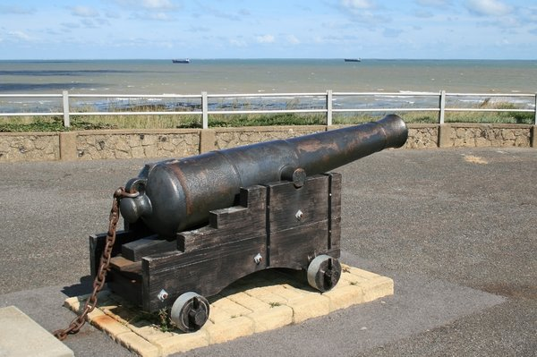 Cannon: An old cannon by the sea in Kent, England.
