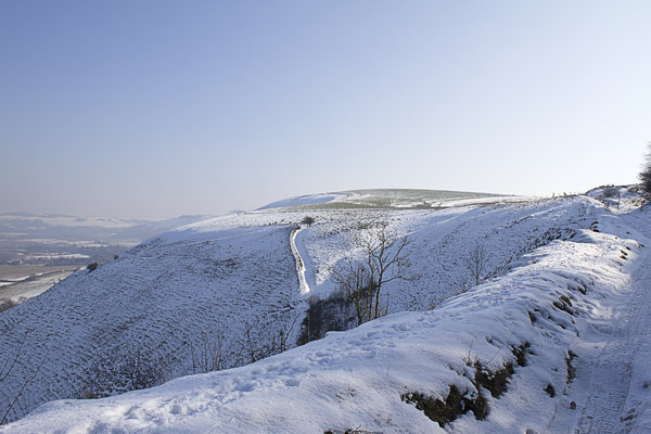 Snowy heights: Snow on the top of the South Downs, West Sussex, England, in February.