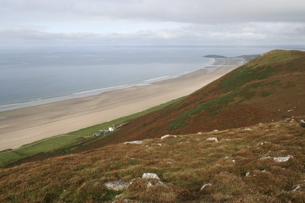 Autumn coastal hill: A coastal hillside on the Gower, Wales, in autumn.