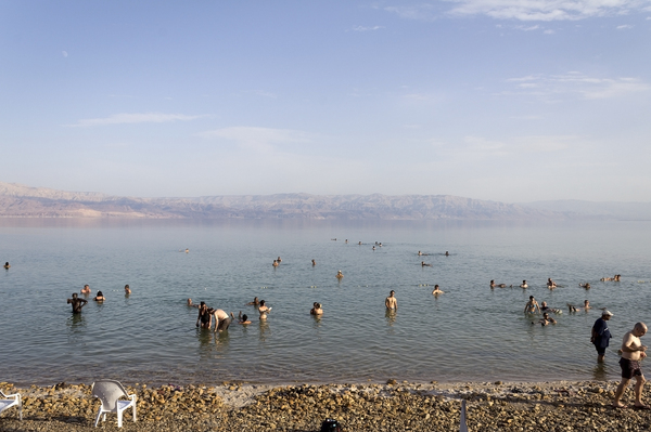 Dead Sea bathers: Bathing in the Dead Sea, Israel.