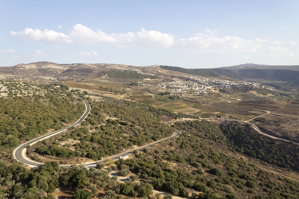 Bendy road: A road in the northern Golan Heights, Israel.