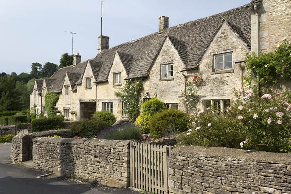 Old cottages: Old stone cottages in Wiltshire, England.