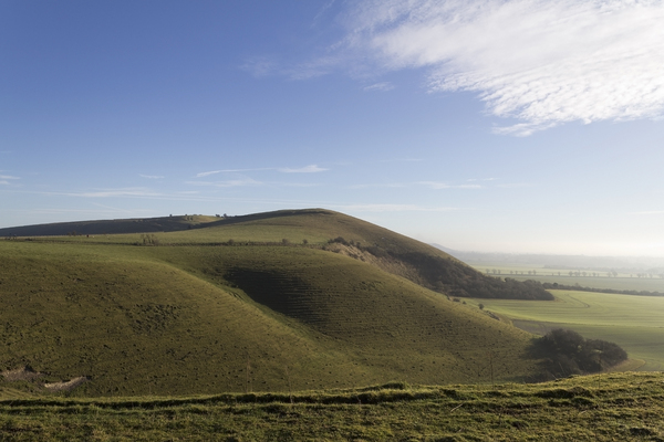 Wiltshire Hill: Knap Hill, Wiltshire, England, on a fine winter morning.