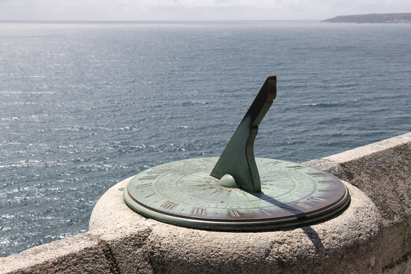 Sundial: A sundial on the castle wall at St. Michael's Mount, Cornwall, England. Photography at this National Trust property is freely permitted.