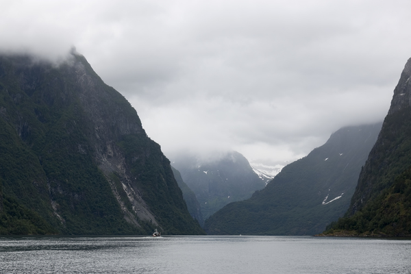 Gloomy fjord: A fjord in very low cloud in Norway.