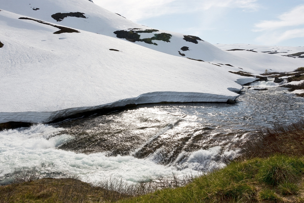 Melting snow: Melting snow on mountains on a high plateau in Norway in July.