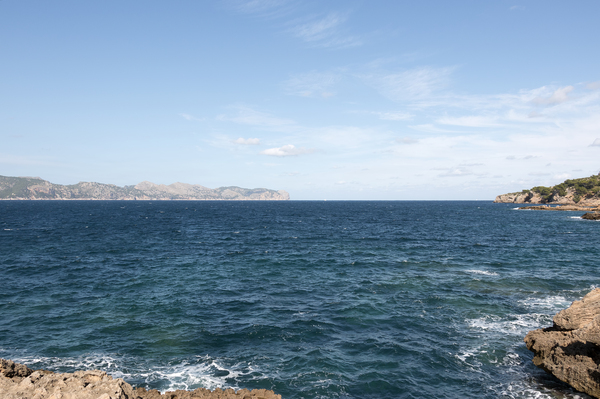 Deep blue sea: Mediterranean coastline near Alcúdia, Majorca, Balearic Islands, Spain.