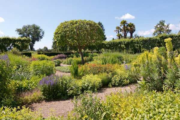 English garden: A garden in early summer at Loseley House, Surrey, England. Photography in this area was freely permitted.