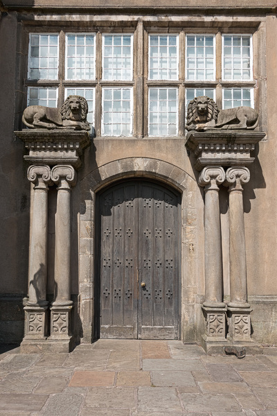 Historic house entrance: Front doors of Astley Hall, Lancashire, England, a grade I listed building. Photography of the exterior of this council owned property is freely permitted.