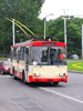 Trolley bus: A trolley bus in Vilnius, Lithuania.