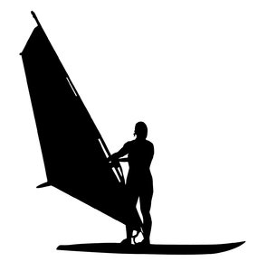 Windsurfer silhouette: A windsurfer on a duty. Please inform me if you use this!