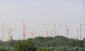 Cranes: Cranes in Warsaw. They were building the National Stadium for EURO 2012 opening.