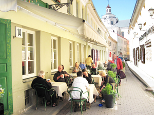 Restaurant in Lithuania: A street restaurant (italian style) in Vilnius, Lithuania.