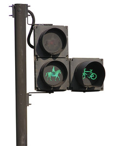 Horse traffic lights: Horse and bike traffic lights in London.