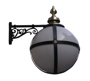 Wrought iron lamp: A lamp from London