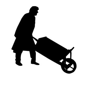 Man with a barrow: A man pushing barrow.