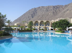 Hotel swimming pool: A hotel swimming pool area. Taba Heights, Egypt
