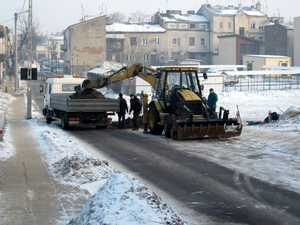 Construction works: Some contrustion works in winter of 2010, Grójec, Poland.