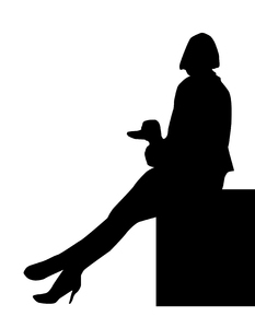 Lady with a dog: A black and white silhouette