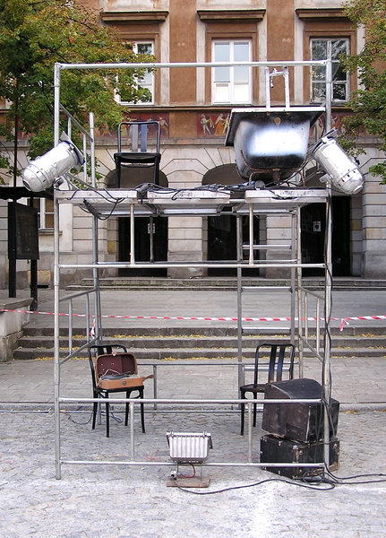 Street theatre decorations: A decorations of street theatre.