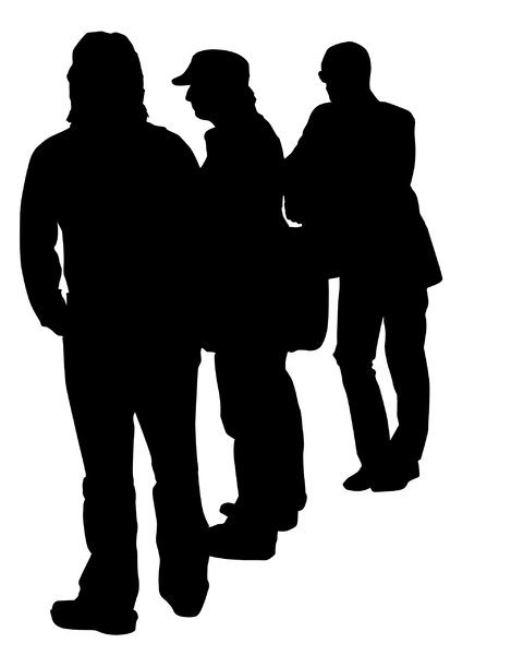 Men chatting: A MEN silhouette.