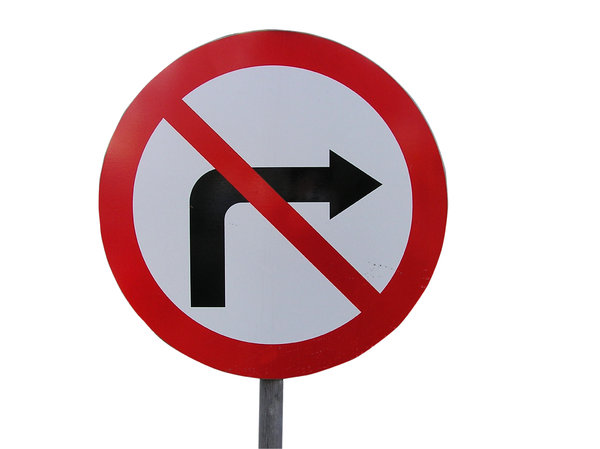 No turning: Can't turn right.