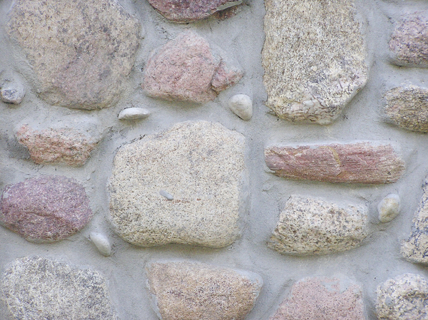 Stone wall: A wall made of stone and concrete.