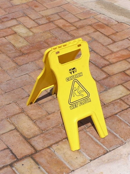 Warning: Wet Floor: A wet floor sign