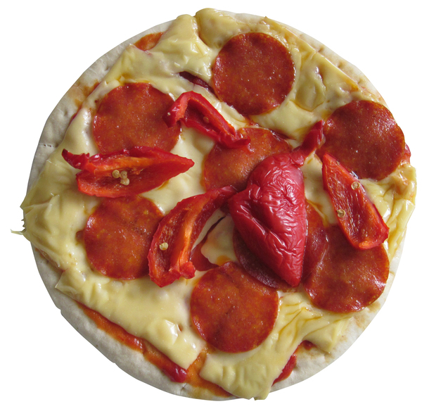 Pizza: A pizza with salami and pepper.