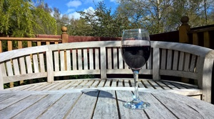 Glass of wine in the sun: Wine sitting in the sun