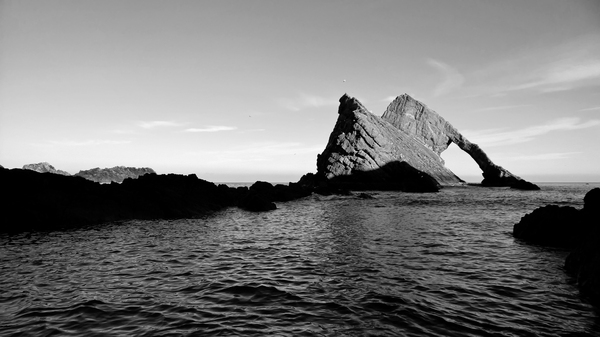 Bow Fiddle Rock: Bow Fiddle Rock just off the coast of Portknockie, Scotland