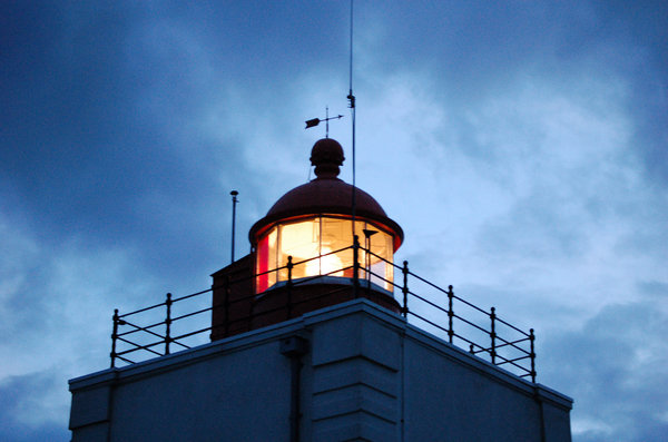 Dutch lighthouse: close-up lighthouse in the evening