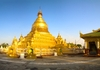 Golden stupa: This is one of the numerous stupas located in Myanmar. The stupa is solid, builded of bricks and then plated with real gold.The shot is pano stitched of 3 vertical frames.